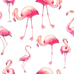 Canvas Prints Flamingo Watercolor flamingo seamless pattern. Hand painted texture with bright exotic birds on white background. Fashion wallpaper design with wild animals