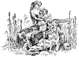 female Centaurus feeding her baby illustration, hand drawn or engraved old looking fantastic, fairytale beasts half man with horse body, greek mythology