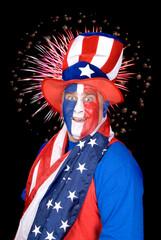 Patriotic man and fireworks