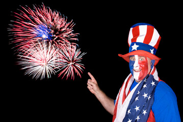 Patriotic man and fireworks