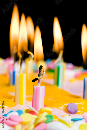 close up of lit birthday candles stock photo and royalty free
