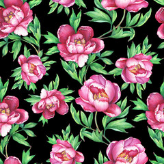 Vintage floral seamless pattern with flowering pink peonies, on  black  background. Elegance watercolor hand drawn painting illustration. Isolated. Design for fabric, wrap paper or wallpaper.
