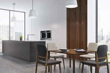 Dining room and kitchen in studio flat