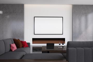 Black living room interior, fireplace