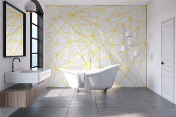 White bathroom yellow pattern, concrete