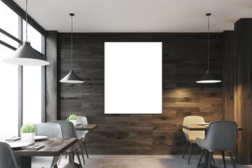 Dark wooden bar, tables front