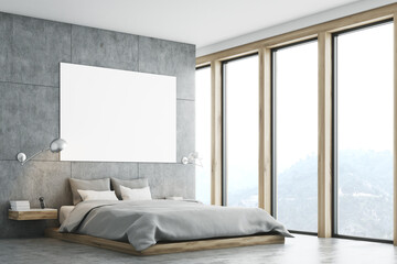 Gray bedroom with poster and window