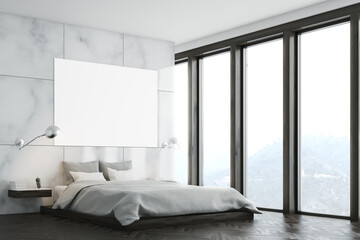 Marble bedroom with poster and window
