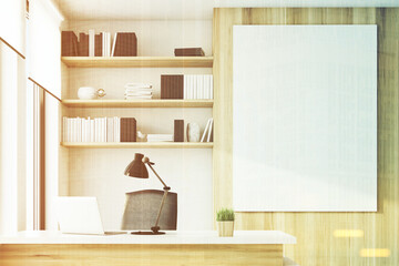 Light wooden office, close up, toned