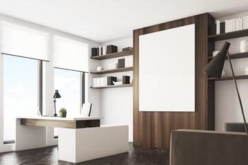 Dark wooden office, side