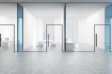 Blue transparent office hall