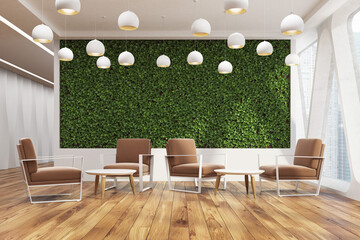Office cafe, grass wall, brown front