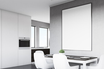 Side view of gray kitchen with poster