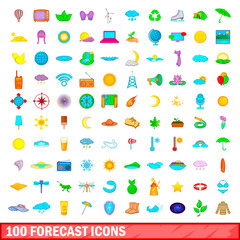 100 forecast icons set, cartoon style