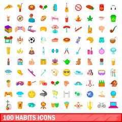 100 habits icons set, cartoon style