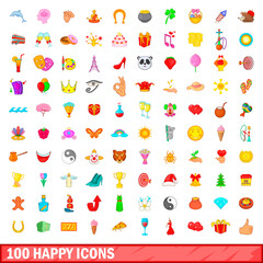 100 happy icons set, cartoon style