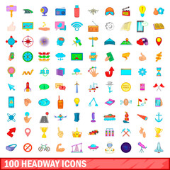 100 headway icons set, cartoon style