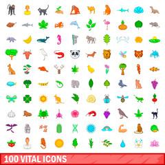 100 vital icons set, cartoon style