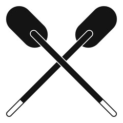 Two wooden crossed oars icon simple