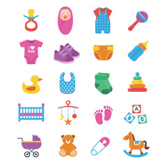 Set of baby icons. Baby elements, clipart, icons