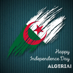 Algeria Independence Day Patriotic Design. Expressive Brush Stroke in National Flag Colors on dark striped background. Happy Independence Day Algeria Vector Greeting Card.