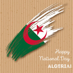 Algeria Independence Day Patriotic Design. Expressive Brush Stroke in National Flag Colors on kraft paper background. Happy Independence Day Algeria Vector Greeting Card.