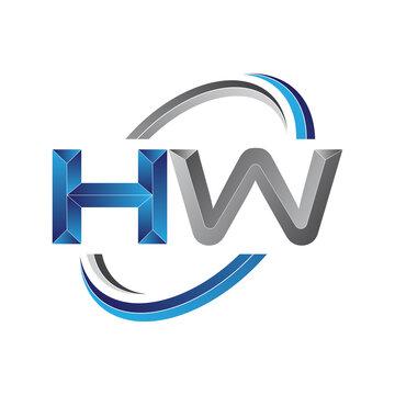 Simple initial letter logo modern swoosh HW