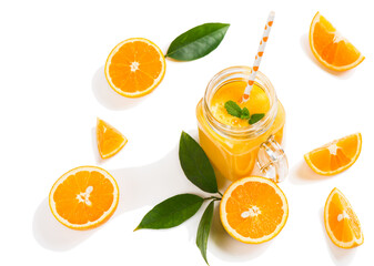 Wall Mural -  Juice and slices of orange fruit.