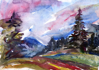 Colorful handwork. Watercolour drawing sunset. Mountain landscape.