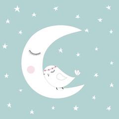 Sleeping half moon white cute bird blue night sky stars kids illustration room decoration, light pastel colors