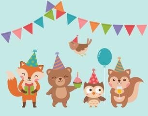 Set of cute cartoon woodland animals for birthday greeting or invitation card design