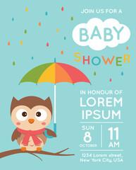 Cute owl cartoon illustration for baby shower invitation card template