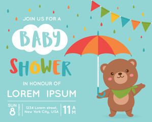 Cute bear illustration for baby  invitation card design template