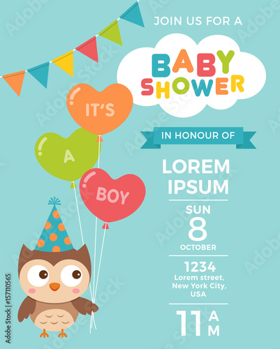 Cute owl cartoon illustration for baby shower invitation card cute owl cartoon illustration for baby shower invitation card template stopboris Choice Image