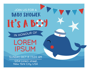 Cute whale cartoon illustration for baby invitation card design template