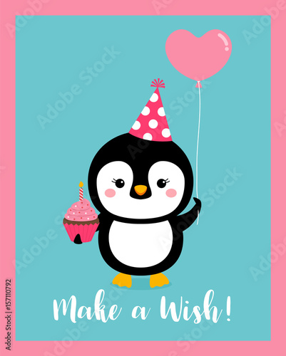 Cute Penguin Cartoon Illustration For Baby Invitation Card Design