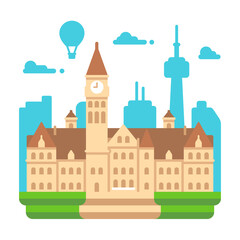 Flat design Toronto old city hall