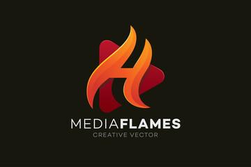Media Play Letter H Logo