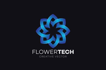 Blue Flower Icon Logo
