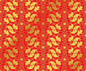 Seamless Golden Chinese Background oriental Japanese spiral vortex round flower leaf vine