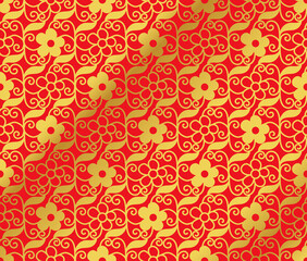 Seamless Golden Chinese Background spiral vortex cross vine leaf flower