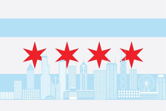 Chicago City Skyline Flag Color vector Illustration
