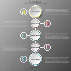 Five simple 3d paper circles on colorful time line in vertical for website presentation cover poster vector design infographic illustration concept