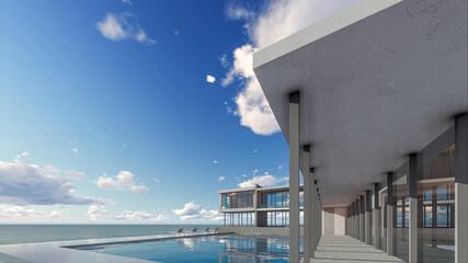3D Rendering Modern House Pool Villa