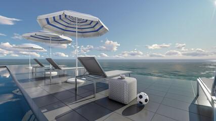3D Rendering Pool Villa, Umbrella And Sunbed