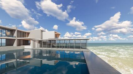 3D Rendering Balcony Poll Villa Design