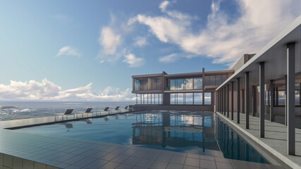 3D Rendering  Sea View, Sunbeds, House With Pool And Terrace  Design