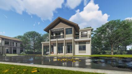3D Rendering House Building Design