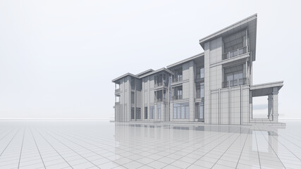 3D Rendering Residential Building Frame Design