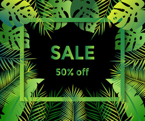 Sale 50% off tropical background